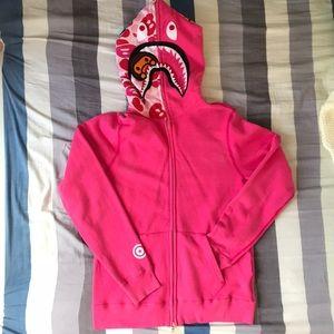 Bape Ladies Shark Hoodies Pink XS